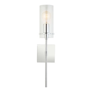 Effimero 1-Light Wall Vanity Corridor Sconce With Frosted, Polished Chrome