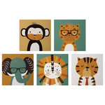 Trend Lab, LLC - Trend Lab Safari Portraits Canvas Wall Art, 5 Piece Set - Complete the look of your baby's room with the Safari Portraits 5-piece Canvas Wall Art Set.  The 5 piece set includes a monkey, a lion, a tiger sporting a necktie, as well as a cheetah and elephant each wearing glasses.  The art is printed in wonderful home d'cor accent colors of gray, goldenrod, tan, burnt orange and teal. Each canvas measures 10 in x 10 in and mounting hardware is attached to the back of each canvas for easy hanging.