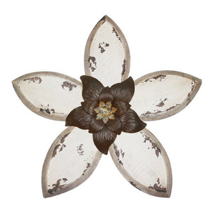 Stratton Home Decor Set Of 3 Rustic Flower Wall Decor Farmhouse Metal Wall Art By Stratton Home Decor