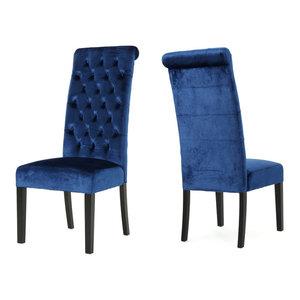 GDF Studio Leona Tall Back Tufted New Velvet Dining Chairs, Navy Blue, Set of 2