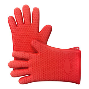 Silicone Oven Gloves, Safe Nonslip Grip, Heat Resistant, 2-Piece Set, Red