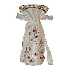 Ivory Silk Wine Bag with Gold Branches