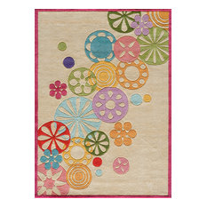 Lil Mo Hipster Polyester, Hand-Tufted Rug, Ivory, 4'x6'