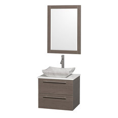 "Wyndham Collection 24"" Amare Gray Oak Vanity Set With White Man-Made Stone Top"