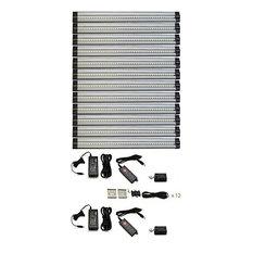 12 piece neutral white LED strip light kit, 2 dimmers,24W plug power supplies