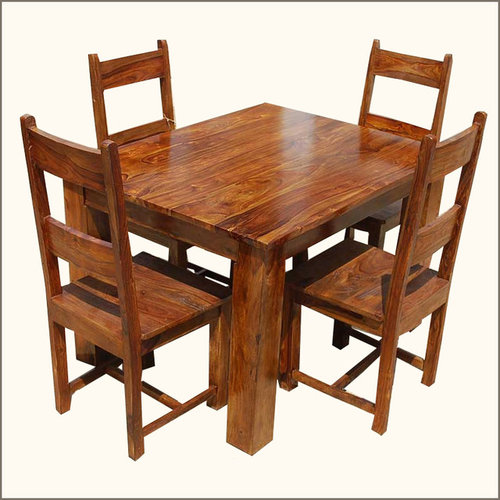 Rustic 8 Person Large Kitchen Dining Table Solid Wood 9 Pc: Dining Table Sets