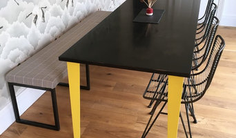 Steel topped steel legged dining table
