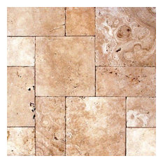 Honed Unfilled Tumbled Coliseum French Pattern Travertine Tile, Set of 10