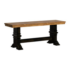 Arbor Hill Two-Tone Trestle Base Dining Bench, Antique Black