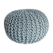"""Handmade Round Knitted Pouf, Blue Tint, 20""""x14"""""""