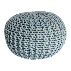 "Handmade Round Knitted Pouf, Blue Tint, 20""x14"""