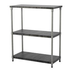 HomeZone 3 Tier Shelf, MDF Shelf, Satin Nickel Finish
