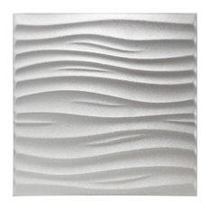 "Art3d Decorative Leather Tiles Wavy 3D Wall Panels White 23.6"" x 23.6"", 6 Sheets"