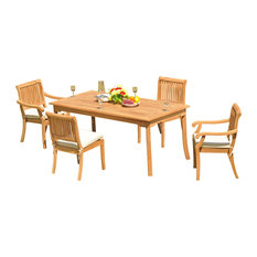 """5-Piece Outdoor Teak Dining Set - 60"""" Rectangle Table + 4 Arbor Stacking Chairs"""