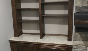 Maple Built In Book Shelf Cabinet with Tile Top