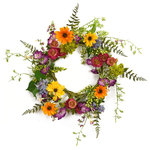 """Melrose International - Mixed Wild Flower Wreath - Wispy & colorful wild flowers pop against lush greenery to create a cheery focal point. This life-like wreath is 24"""" in diameter on a twig base."""