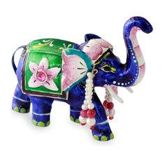 Lucknow Royal Elephant Meenakari Sterling Silver Figurine