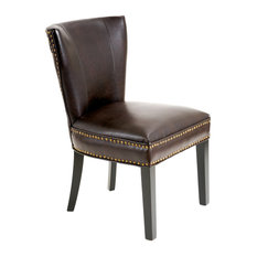 GDFStudio   George Dining Chair , Brown Leather   Dining Chairs Part 18