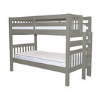 Bedz King Bunk Beds Twin over Twin with End Ladder, Gray