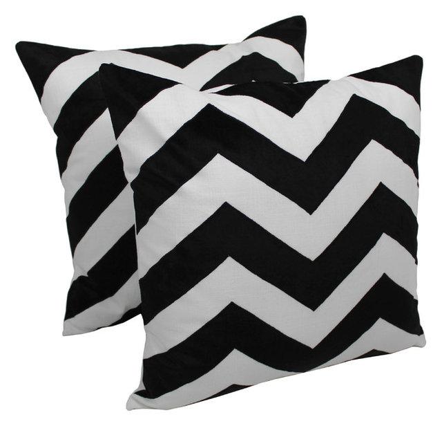 20 Indian Chevron Velvet Throw Pillow Set Of 2 Black Ivory