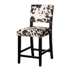 Clayton Cow Print Counter Stool in Black