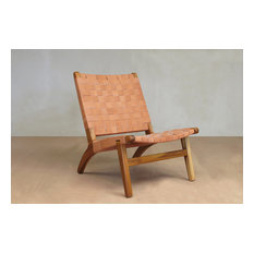 Leather Lounge Chair, Barley, Teak