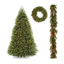 "10' Dunhill Fir Hinged Tree,Frosted Berry Garland,30"" Crestwood Spruce Wreath"