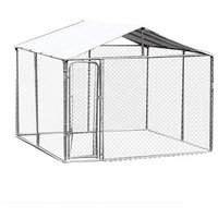 PawHut 10'x10'x6' Outdoor Chain Link Box Kennel Dog House with Water Resistance