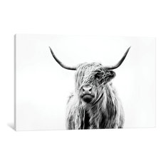 """Portrait Of A Highland Cow"" by Dorit Fuhg, 26x18x0.75"""