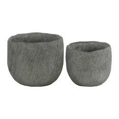 Cement Round Flower Pots, 2-Piece Set, Concrete, Gray