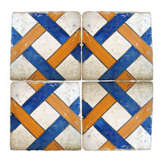 Repro Weave Majolica Tiles, Set of 4