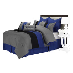 Florence 8-Piece Comforter Set With Shams, Bed Skirt and Pillow, Cal King, Blue