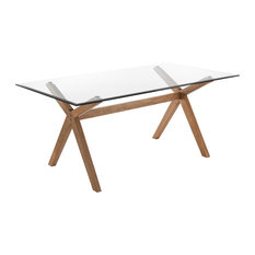 Kyra Glass Table With Wooden Legs