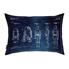 "Oliver Gal ""Robots 1979 Blue Chalkboard"" Pillow, 14""x20"""