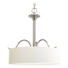 Inspire 3-Light Inverted Pendant, Brushed Nickel, Off-White Linen Shade