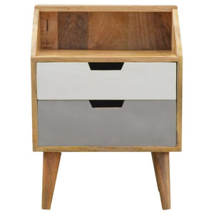 2-Drawer Grey Hand Painted Bedside with Raised Back, Oak Finish
