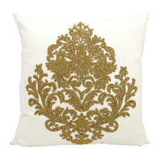 Mina Victory Luminescence Beaded Damask Pillow, Bronze