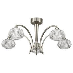Ripple 5-Light Ceiling Light, Satin Nickel