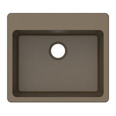 "Winpro Dual-Mount Kitchen Sink, Single Bowl, Granite Quartz, Mocha, 25"""
