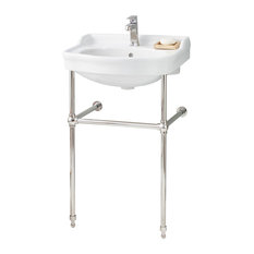 """Cheviot Products Antique Sink, 22 1/2"""", 4"""" Faucet Drilling, Polished Nickel"""