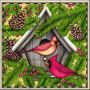 Tile Mural, Cardinals and Pine, 32.4x32.4 cm