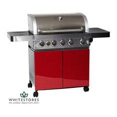 Grillstream Gourmet 5 Burner Roaster Gas BBQ with Cabinet & Side Burner - Red