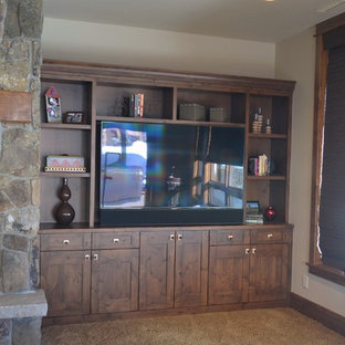 Mountain style home theater photo in Denver