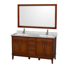 "Hatton 60"" Light Chestnut Double Vanity, White Carrera Marble Top, Square Sink"