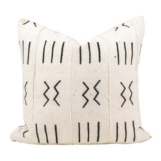"Elgon African Mud Cloth Pillow, 20""x20"", Zipper, With Insert"