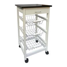 Chef Vida Wooden Kitchen Trolley, White, 3 Tiers