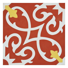 "8""x8"" Agadir Handmade Cement Tile, Red/Yellow, Set of 12"