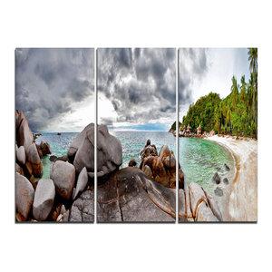 """Exotic Tropical Beach Under Blue Sky"" Wall Art, 3 Panels, 36""x28"""