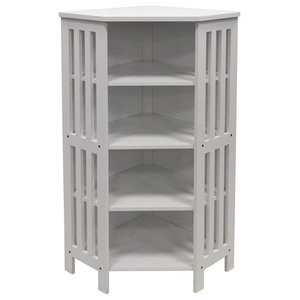 Mission Corner 132-CD/96-DVD Media Shelf Unit, White