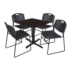 Cain 30-inch Square Breakroom Table Mocha Walnut And 4 Zeng Stack Chairs Black
